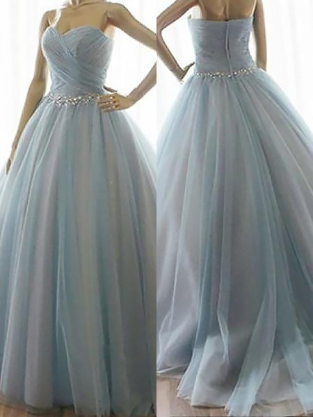 Ball Gown Sweetheart Floor-Length Tulle Sleeveless Beading Dresses