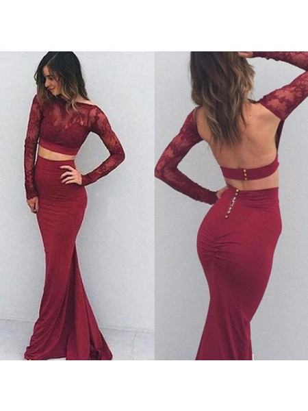 Trumpet/Mermaid Bateau Spandex Long Sleeves Floor-Length Dress