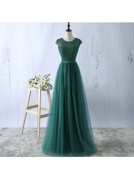 A-Line/Princess Tulle Scoop Sleeveless Floor-Length Dresses