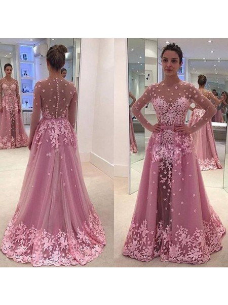 A-Line/Princess Tulle Scoop Long Sleeves Floor-Length Applique Dresses