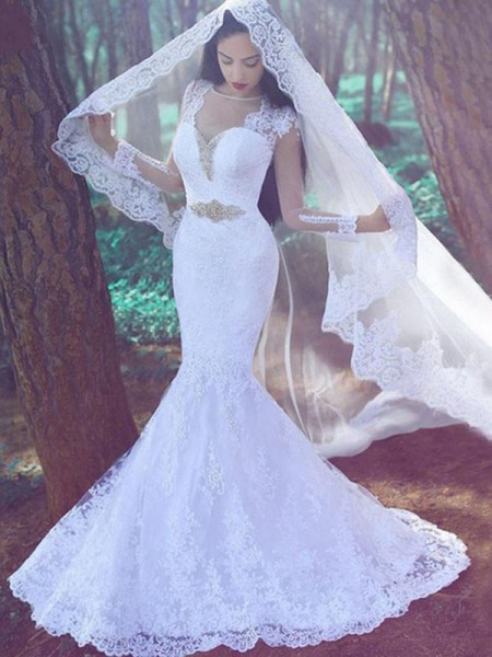 Trumpet/Mermaid Lace Sweetheart Long Sleeves Court Train Applique Wedding Dresses