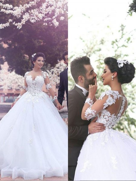Ball Gown Tulle Sweetheart Long Sleeves Court Train Wedding Dresses