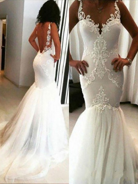 Trumpet/Mermaid Tulle Spaghetti Straps Sleeveless Chapel Train Applique Wedding Dresses