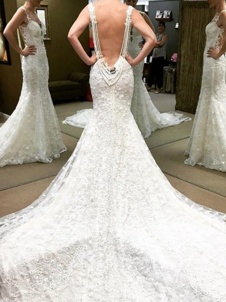 Ball Gown Lace Off-the-Shoulder Short Sleeves Cathedral Train Wedding Dresses