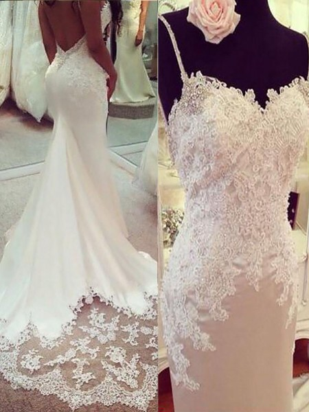 Trumpet/Mermaid Satin Spaghetti Straps Sleeveless Court Train Applique Wedding Dresses