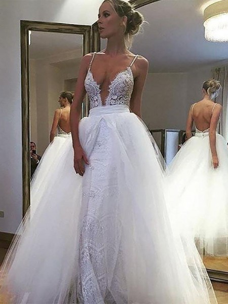 A-Line/Princess Tulle Spaghetti Straps Sleeveless Floor-Length Lace Wedding Dresses
