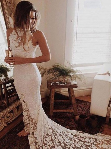 Trumpet/Mermaid Lace Halter Sleeveless Chapel Train Wedding Dresses
