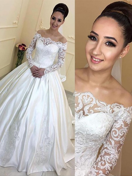 Ball Gown Satin Off-the-Shoulder Long Sleeves Court Train Wedding Dresses
