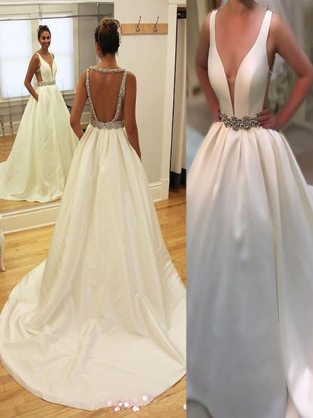 A-Line/Princess Satin V-neck Sleeveless Court Train Wedding Dresses
