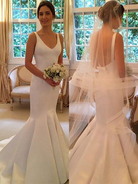 Trumpet/Mermaid Satin V-neck Sleeveless Sweep/Brush Train Wedding Dresses