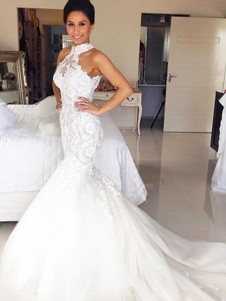 Trumpet/Mermaid Tulle Halter Sleeveless Court Train Wedding Dresses