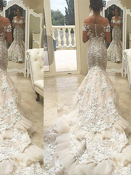 Trumpet/Mermaid Tulle Off-the-Shoulder Short Sleeves Chapel Train Wedding Dresses