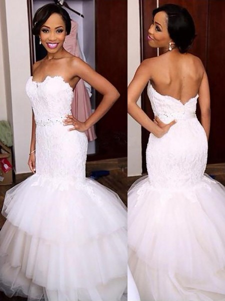 Trumpet/Mermaid Tulle Sweetheart Sleeveless Court Train Wedding Dresses