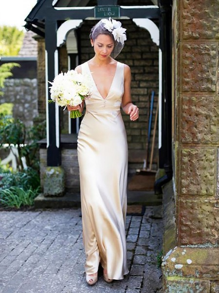 Sheath/Column Satin V-neck Sleeveless Floor-Length Wedding Dresses