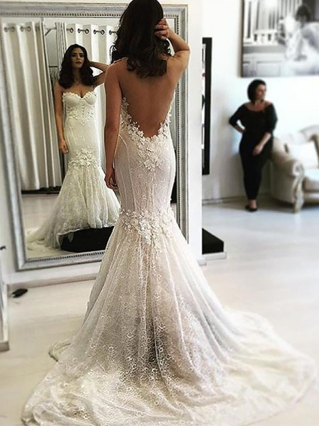 Trumpet/Mermaid Lace Sweetheart Sleeveless Sweep/Brush Train Wedding Dresses