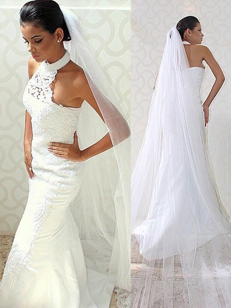 Trumpet/Mermaid Satin Halter Sleeveless Sweep/Brush Train Wedding Dresses