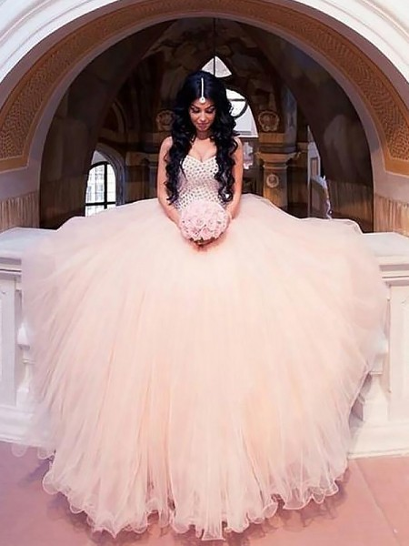 Ball Gown Tulle Sweetheart Sleeveless Sweep/Brush Train Beading Wedding Dresses