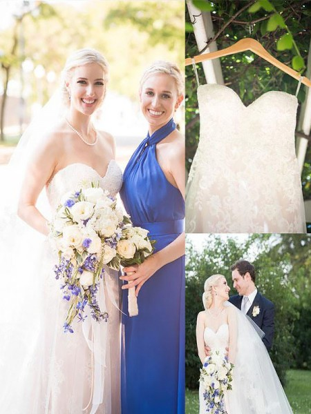 A-Line/Princess Tulle Sweetheart Sleeveless Sweep/Brush Train Wedding Dresses