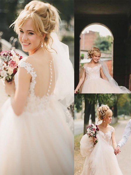 A-Line/Princess Tulle Scoop Sleeveless Court Train Wedding Dresses
