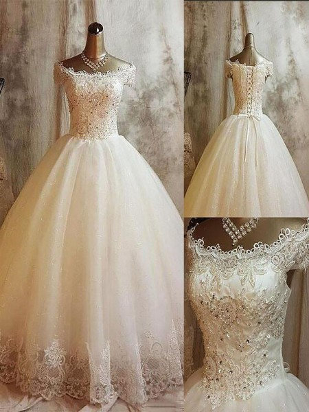 Ball Gown Tulle Off-the-Shoulder Sleeveless Sweep/Brush Train Applique Wedding Dresses