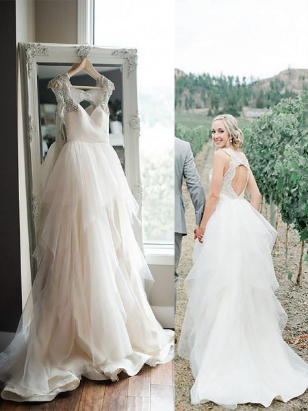 A-Line/Princess Tulle Straps Sleeveless Sweep/Brush Train Wedding Dresses