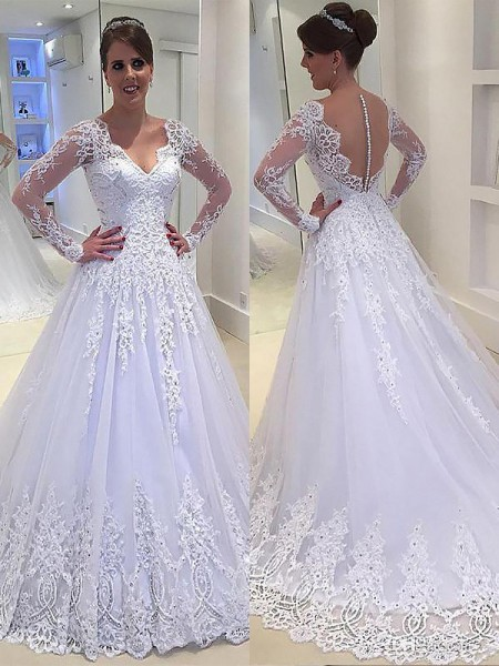 A-Line/Princess Tulle V-neck Long Sleeves Court Train Applique Wedding Dresses