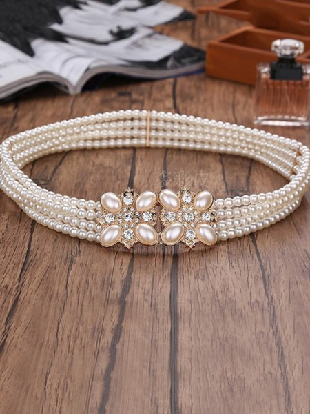 Women's Elegant Elastic Imitation Pearls Sashes With Rhinestones