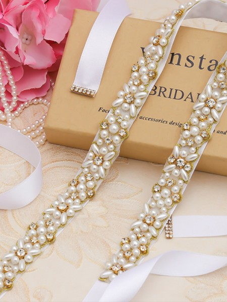 Women's Beautiful Cloth Sashes With Rhinestones/Imitation Pearls
