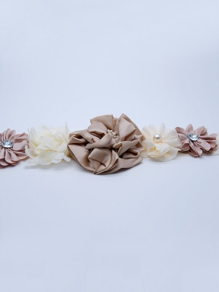 Women's Unique Satin Sashes With Imitation Pearls/Flowers