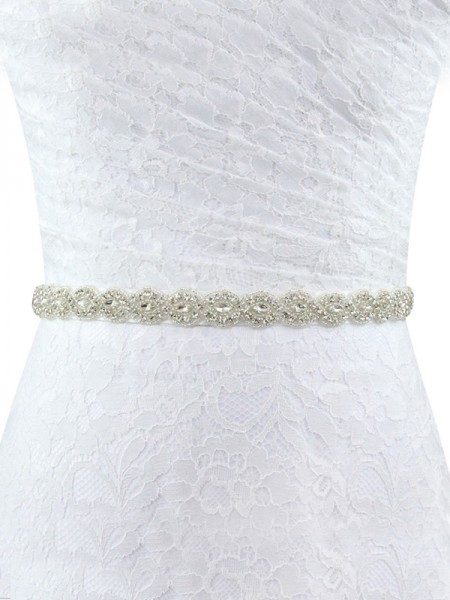 Women's Exquisite Polyester Fiber Sashes With Rhinestones