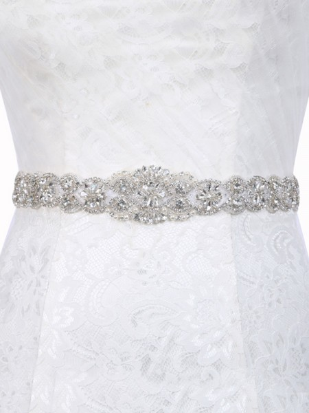 Women's Brilliant Polyester Fiber Sashes With Rhinestones/Imitation Pearls