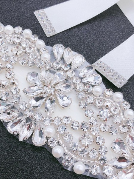 Bridal Wedding Satin Sash Crystal Rhinestone Ribbon