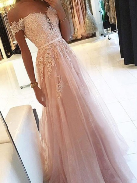 A-Line/Princess Applique Tulle Floor-Length Sleeveless Off-the-Shoulder Prom Dresses