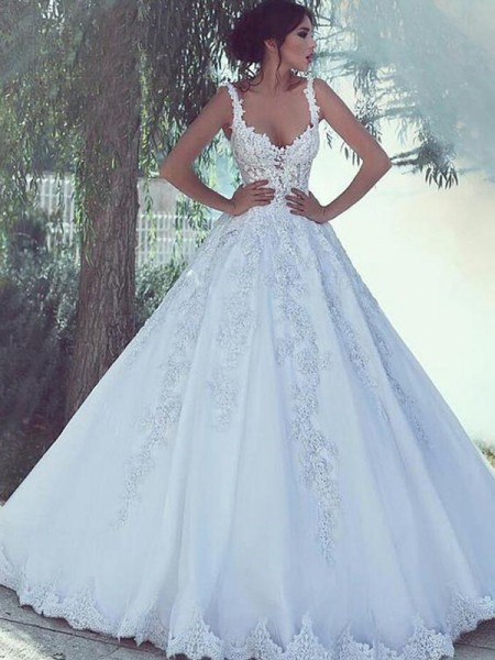 Ball Gown Lace Satin Sweep/Brush Train Sleeveless Scoop Wedding Dresses
