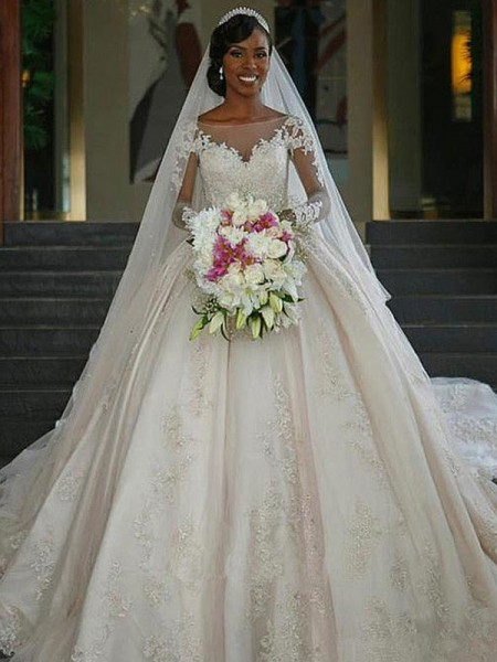 Ball Gown Applique Satin Sweep/Brush Train Long Sleeves Bateau Wedding Dresses