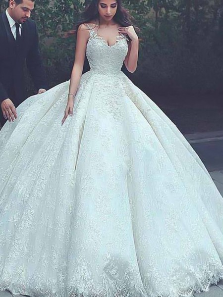 Ball Gown Lace Tulle Sweep/Brush Train Sleeveless Spaghetti Straps Wedding Dresses