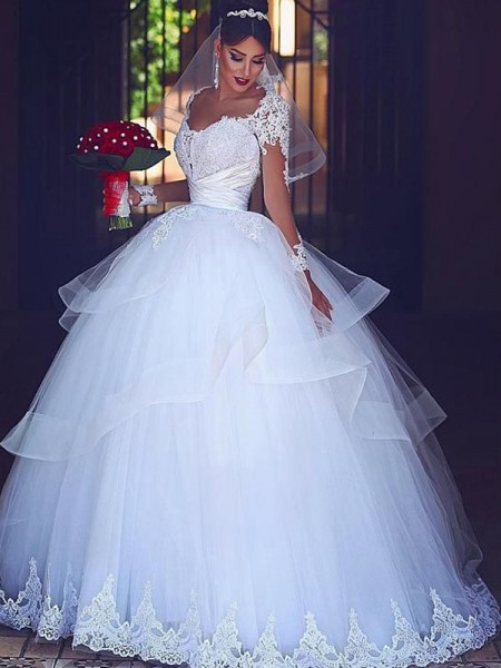 Ball Gown Lace Tulle Floor-Length Long Sleeves Sweetheart Wedding Dresses