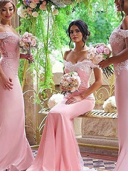 Sheath/Column Lace Satin Sweep/Brush Train Sleeveless Off-the-Shoulder Bridesmaid Dresses