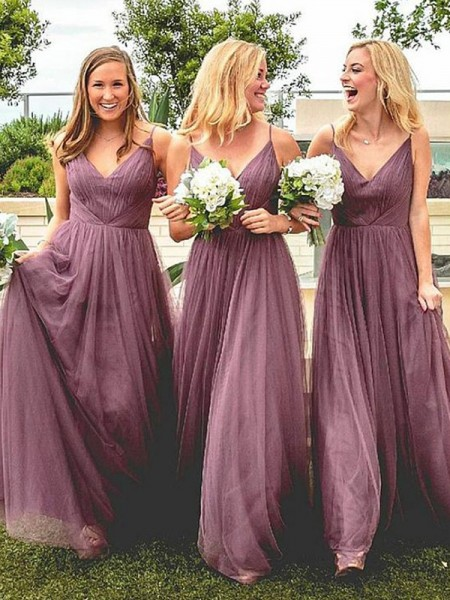 A-Line/Princess Ruffles Tulle Floor-Length Sleeveless Spaghetti Straps Bridesmaid Dresses