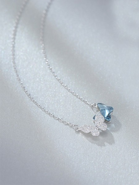 Women's Necklaces Simple S925 Silver With Butterfly