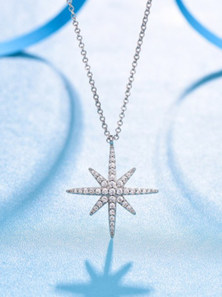 Women's Brilliant 925 Sterling Silver With Star Necklaces