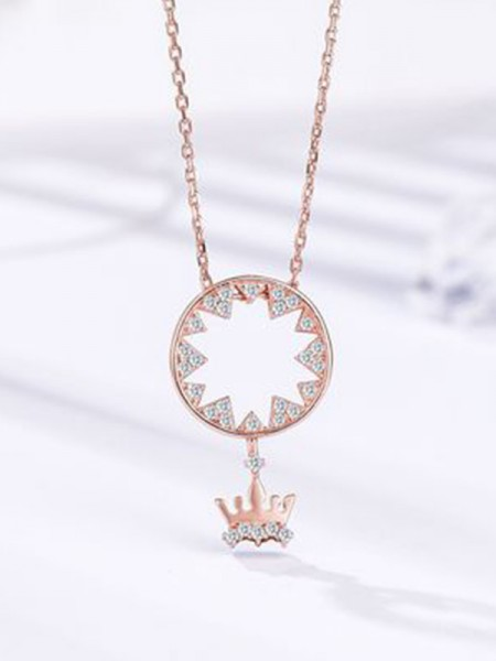 Women's Fashion S925 Silver With Crown Necklaces