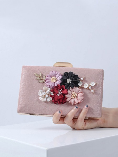 Banquet bag PU 3D Flowers Clutch Bag Evening Party Wedding Tote