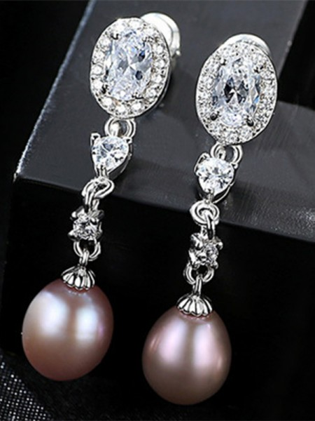 Women's Unique S925 Silver With Pearl Earrings