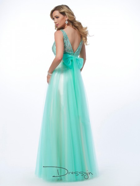 A-Line Bateau Floor-Length Net Evening Dress With Pleats