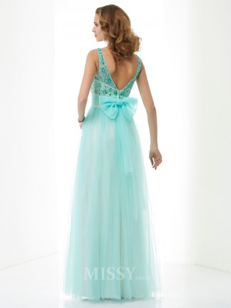A-Line Bateau Floor-Length Elastic Woven Satin Evening Dress With Sash