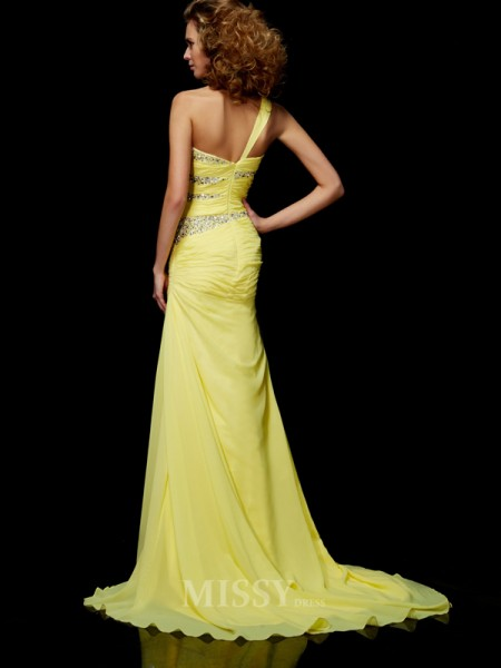 Sheath One-shoulder Sweep Train Chiffon Evening Dress With Beading