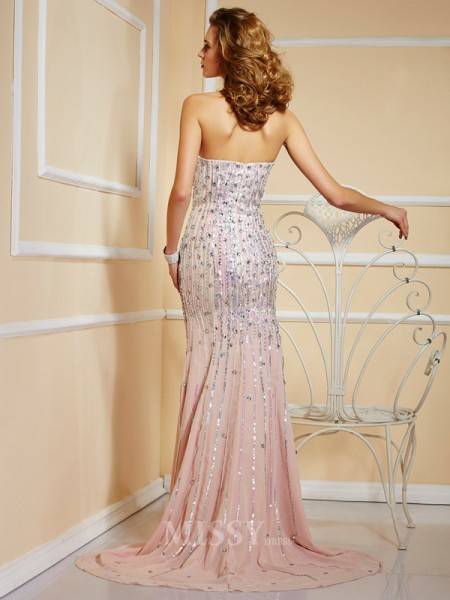 A-Line Strapless Chiffon Floor-Length Evening Dress With Rhinestone