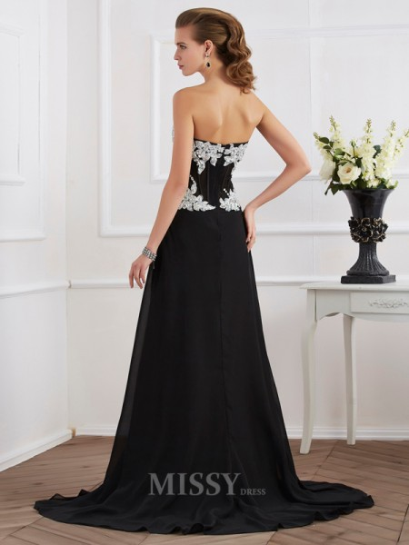 Sheath Sweetheart Chiffon Evening Dress With Applique
