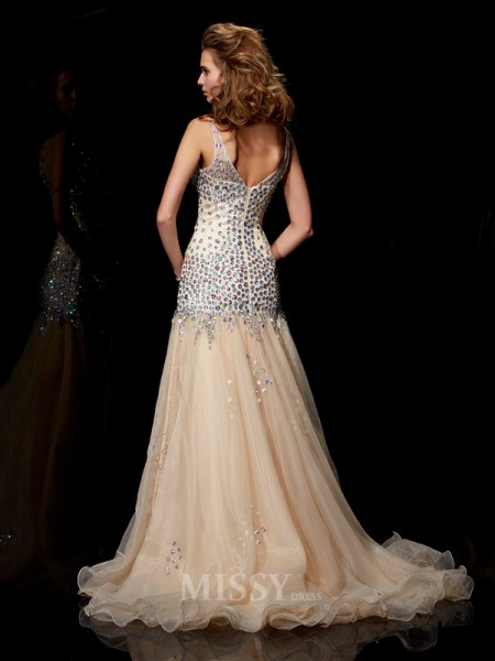 Sheath V-neck Organza Floor-Length Evening Dress With Beading